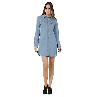 Knee length Button Front Denim Dress - Palewash Long Sleeve Jean Dress