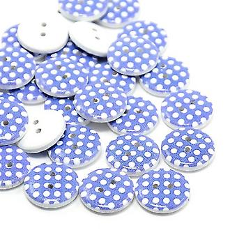 20 x Dark Blue/White Wood 15mm Round 2-Holed Patterned Sew On Buttons HA14585