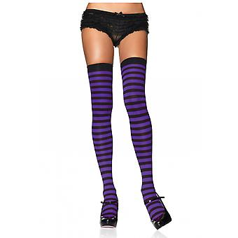 Wicked Witch Sorceress Purple Black Striped Women Costume Nylon Stockings