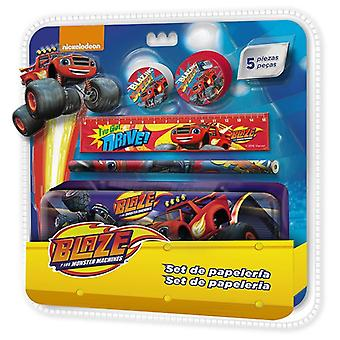 Blaze and The Monster Machines metal pencil case and accessories set