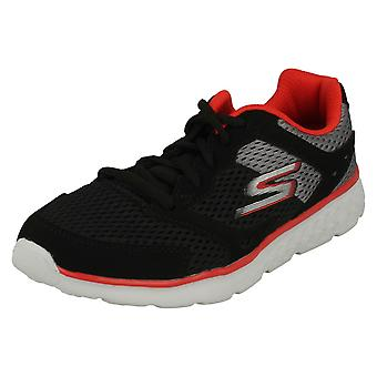 Boys Skechers Casual Lace Up Trainers Zodox 97681 - Black/Grey/Red Textile - UK Size 10.5 - EU Size 28 - US Size 11.5