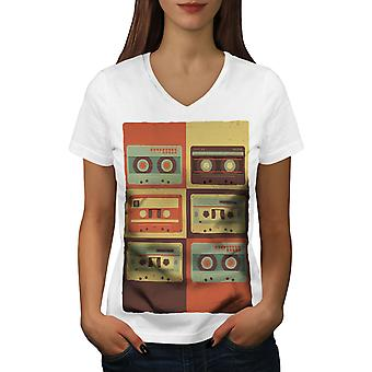 Vintage Cassette Music Women WhiteV-Neck T-shirt | Wellcoda