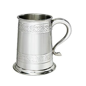 Celtic Bands Embossed Pewter Tankard - 1 pint