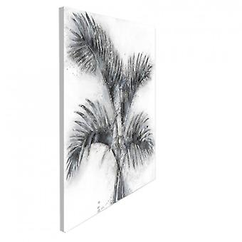 PALM IMAGE OIL PAINTING ON CANVAS DESIGN MURAL FLORAL MODERN SILVER 80CMX100CM