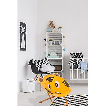 CHILDREN CHAIR TIGER MOTIF FOR INDOOR OUTDOOR KIDS CHAIRS ORANGE BROWN SOFT NEW
