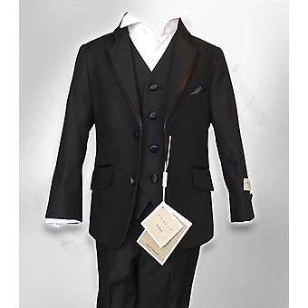Boys Premium Italian Black 3PC Page Boy Dinner Suit With Black Shinny Lapels, Wedding, Party, Prom Suit