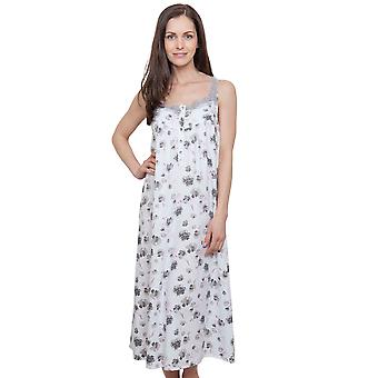 Cyberjammies 1286 Women's Nora Rose Ava Cream Off-White Floral Night Gown Loungewear Nightdress