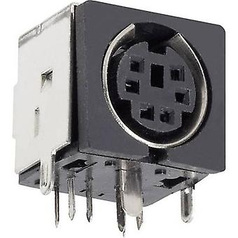 BKL Electronic 0204046 Mini DIN connector Socket, horizontal mount Number of pins: 3 Black 1 pc(s)