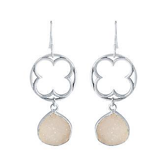 Gemshine Damen Ohrringe CLOVER 925 Silber DRUZY Rose Quarz 5 cm