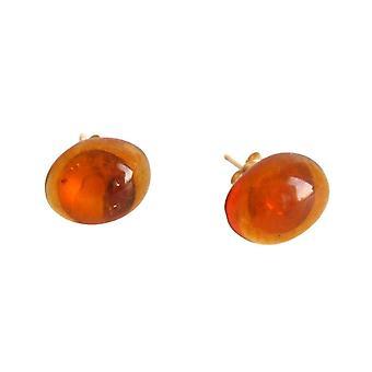 Gemshine - Panie - kolczyki - złoto pozłacane kaboszon - 8 mm - amber - żółto - pomarańczowy-