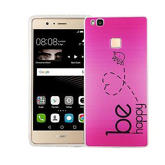 Handy Hülle für Huawei P9 Lite Cover Case Schutz Tasche Motiv Slim TPU + Panzer Schutz Glas 9H Be Happy Pink