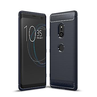 Motorola Moto Z3 TPU Case Carbon Fiber Optik Brushed Schutz Hülle Blau