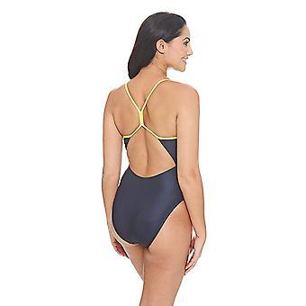 Zoggs Women's Batman Sprintback Swimsuit in Black / Yellow with Slim Straps - Chlorine Proof