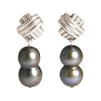GEMSHINE Earrings Baroque Cultured Beads 925 Silver or Gilded - Tahiti Grey