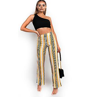 IKRUSH Womens Ninna High Waist Striped Trousers