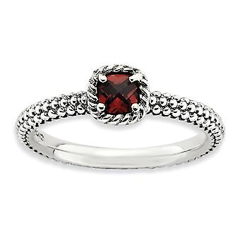 2.5mm Sterling Silver Prong set Antique finish Stackable Expressions Checker-cut Garnet Antiqued Ring - Ring Size: 5 to