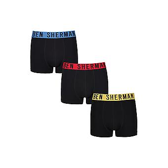Ben Sherman Underwear Men's 3 Pack Boxer Trunk Shorts Black Red Blue  Wyatt