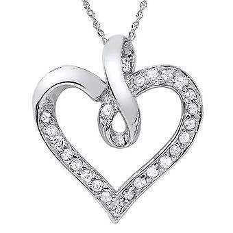 1/3 carat Real Diamond Heart Shape White Gold Pendant
