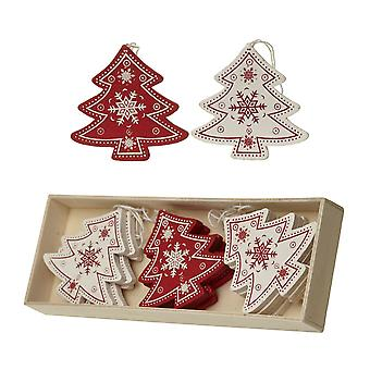 Wooden Red And Cream Trees Set Christmas Tree Decorations x 12
