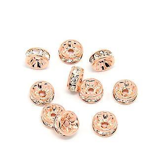 Pacote 10 x Rose Gold latão 4 x 8mm Rondelle simples grânulos HA15155