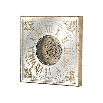 Hill Interiors Mirror Square Clock With Moving Mechanism