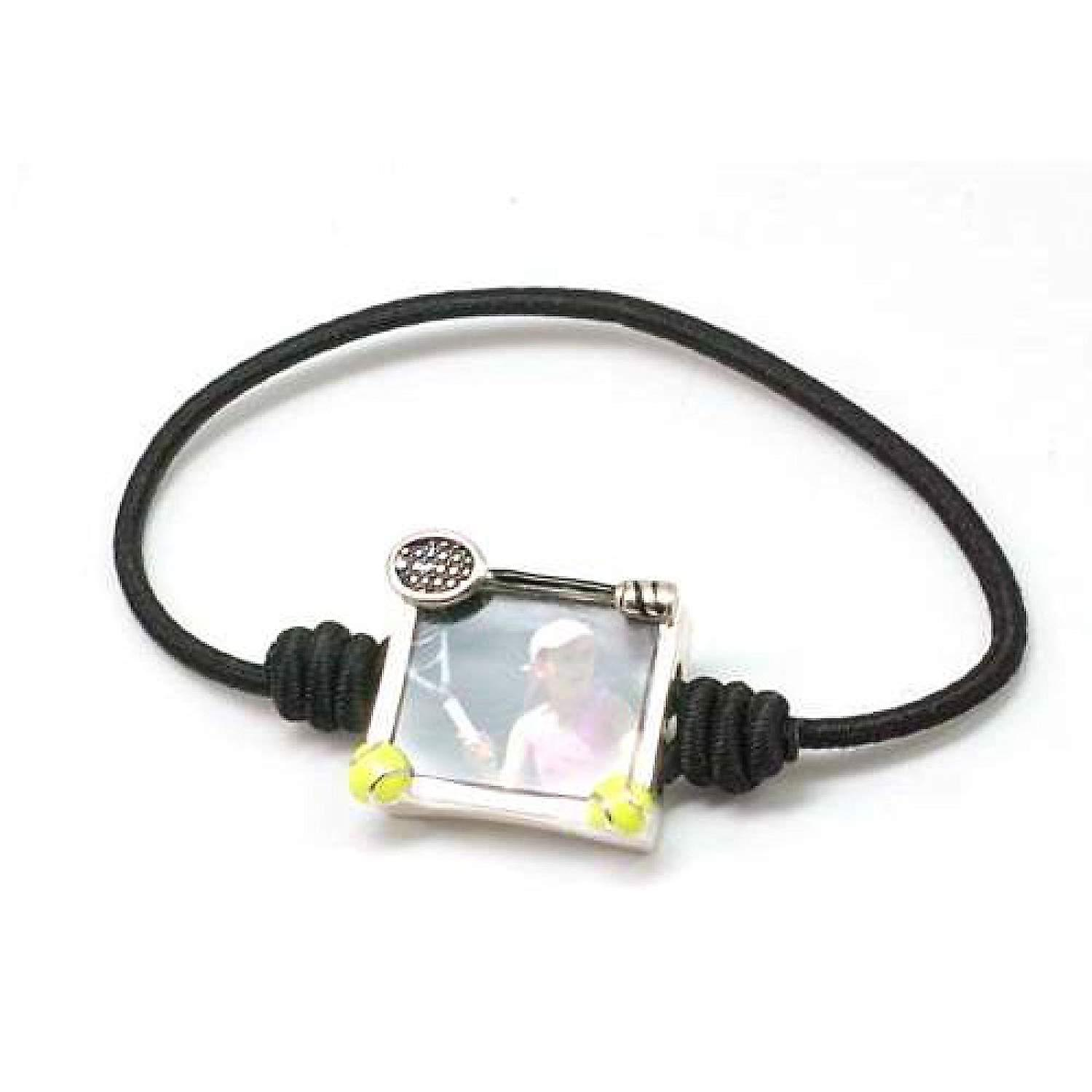 Bandz Children Boys Girls Black Tennis Photo Frame Elastic Stretch Bracelet