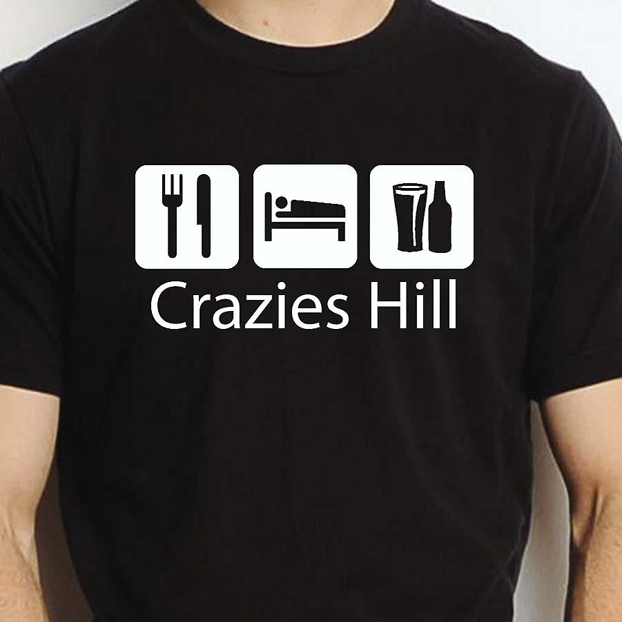 Eat Sleep Drink Crazieshill Black Hand Printed T shirt Crazieshill Town