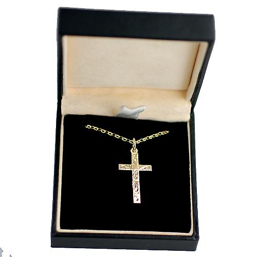 9ct Gold 25x15mm hand engraved solid block Cross with belcher Chain 16 inches Only Suitable for Children
