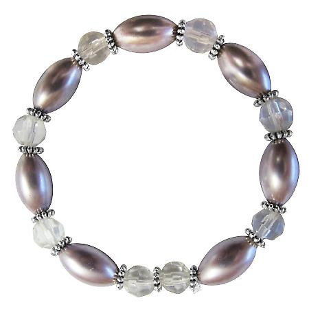 Purple Oval Pearls Clear Round 10mm Bali Silver Stretchable Bracelet