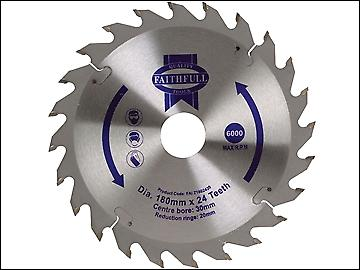 Faithfull Circular Saw Blade 180 x 20/30mm x 24T Fast Rip
