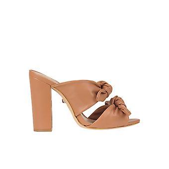 Schutz Brown Leather Slippers