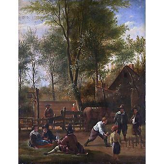Skittle players outside an inn,Jan Steen,33.5x27cm