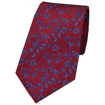 David Van Hagen Floral bloempjes zijden stropdas - rood/blauw