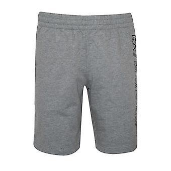 Ea7 EA7 Grau Melange Logo Baumwoll-Shorts
