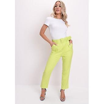 Hohe Taille Gürtel Hose Neon-grün