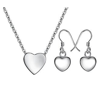925 Sterling Silver Necklace & Earrings With Little Heart