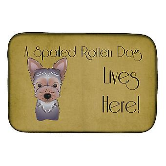 Yorkie Puppy Spoiled Dog Lives Here Dish Drying Mat