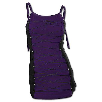 Spiral Direct Gothic GOTHIC ROCK - Long Laceup Camisole Top Purple Black|Gothic|Metal