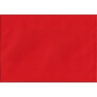 Pelaren Box röda skal/sigill C4/A4 färgade röda kuvert. 120gsm Luxury FSC-certifierat papper. 229 mm x 324 mm. plånbok stil kuvert.