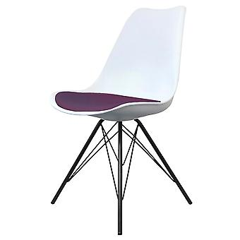 Fusion Living Eiffel Inspired White And Aubergine Purple Plastic Dining Chair With Black Metal Legs