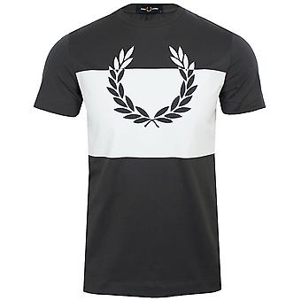 Fred perry gunmetal and white laurel wreath men's t-shirt