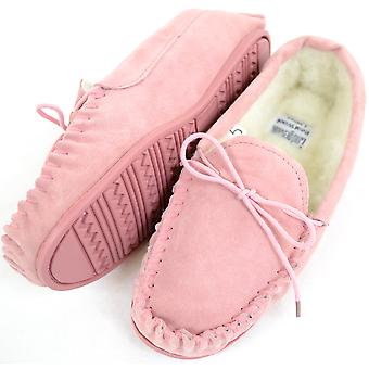 Ladies / Womens Genuine Suede Leather Moccasin / Slippers with Warm Wool Lining - Pink - UK 5