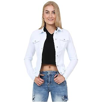 Fitted Stretch Denim Jacket - White
