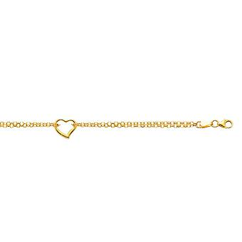 10k Yellow Gold 10 Inch Shiny Double Rolo Chain Anklet Station Open Heart With Lobster Clasp