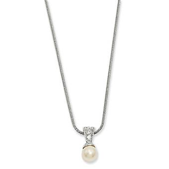 Rhodium-plated White Glass Pearl CZ Necklace - 18 Inch