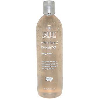 OM She Aromatherapie Body Wash 500ml weißer Tee & Bergamotte