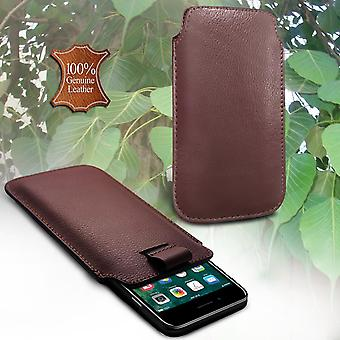 i-Tronixs LG K10 (2017) Genuine Leather High Quality Pull Tab Flip Phone Case Cover Brown