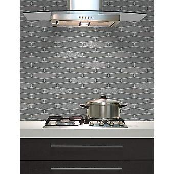 Tile Wallpaper Brick Effect Glitter Washable Vinyl Kitchen Bathroom Charcoal