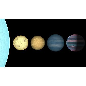 An artists rendition comparing brown dwarfs to stars and planets Poster Print