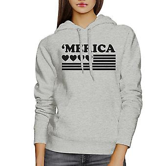 'Merica Unisex White Graphic Hoodie Gift Idea For Independence Day